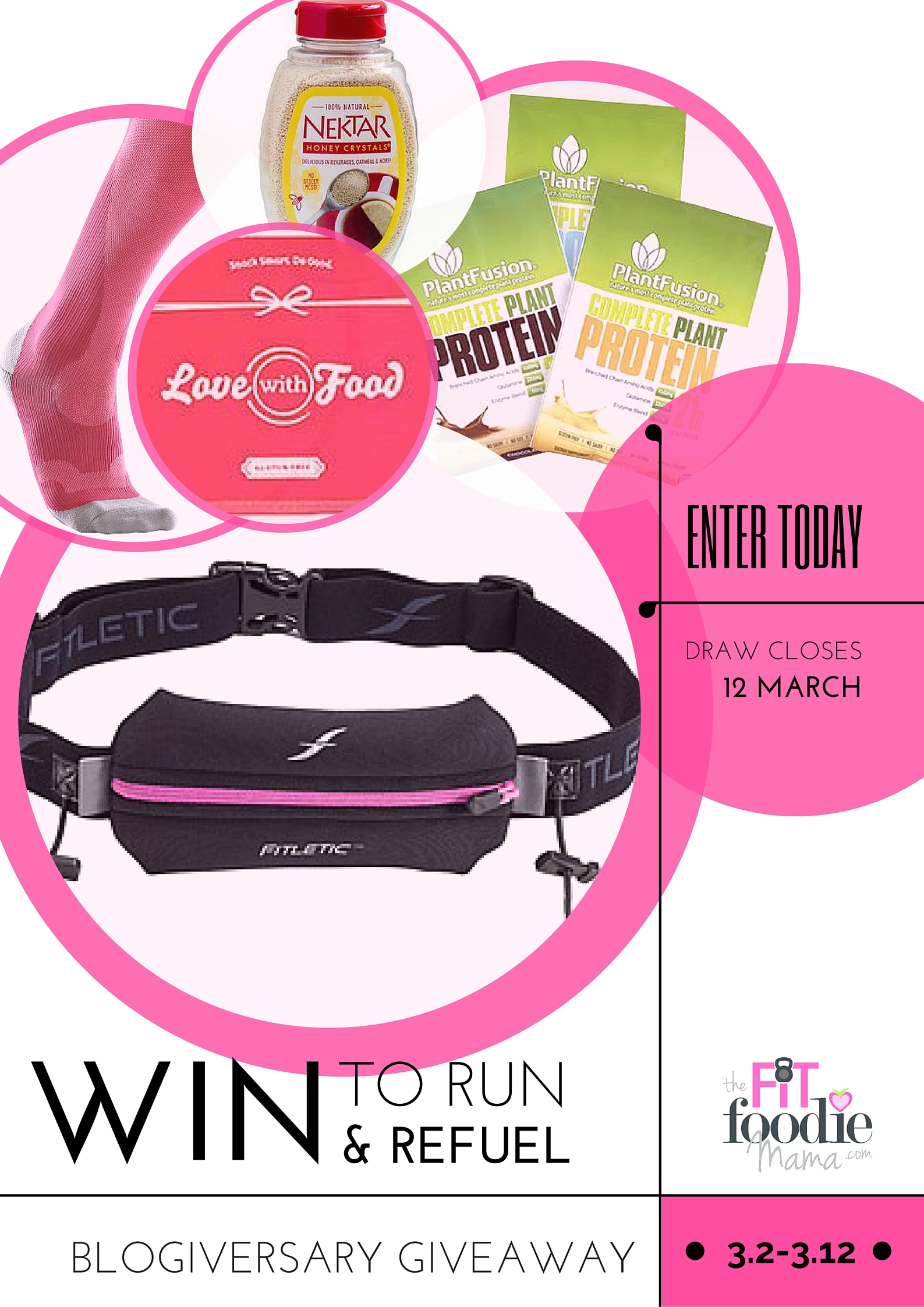 @FitFoodieMama's 2 Year Blogiversary Giveaway! Win to Run & Refuel with prizes from @fitletic, @brightlifego, @plantfusion, @lovewithfood, @nektarnaturals!
