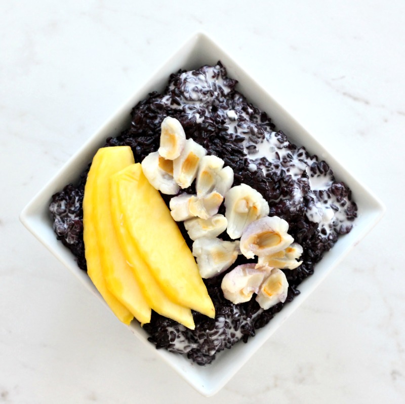 Low Histamine Ginger, Lychee and Coconut Black Rice Pudding {Gluten Free, Dairy Free, Soy Free, Vegan}. Easy Meatless Monday recipe for breakfast or even pre-run fuel!