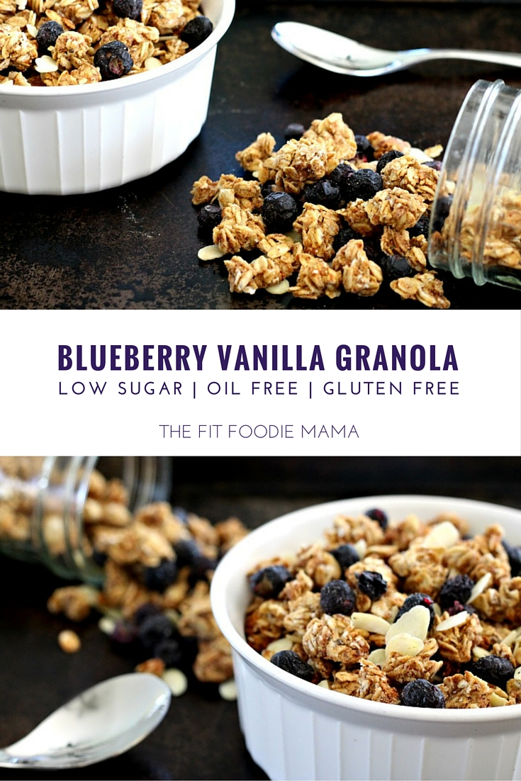 Blueberry Vanilla Gluten Free Granola {oil free, low sugar, vegan} Perfect for breakfast, healthy snack or to fuel or refuel a run! @BobsRedMill TheFitFoodieMama.com