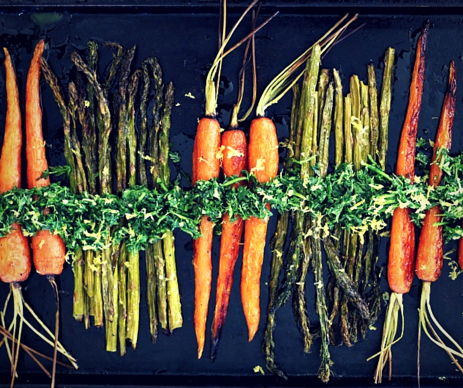 Roasted Carrots & Asparagus with Carrot Greens Gremolata