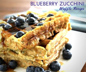 Gluten Free Blueberry Zucchini Waffles. Perfect for a summer Sunday morning breakfast. Plus they're packed with nutritionally boosted protein powder which makes them the perfect allergy friendly meal to refuel after a long run or workout! Find the recipe on TheFitFoodieMama.com