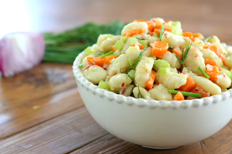 Simple, easy and delicious Gnocchi Potato Salad side dish recipe that's dairy free, gluten free and perfect for a cookout or party!