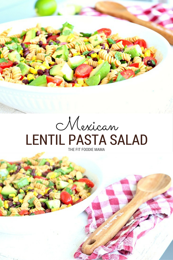 Mexican Lentil Pasta Salad made with Modern Table's Lentil Bean Pasta Rotini and mixed with fresh cilantro, tomatoes, avocado, corn and black beans in a lime dressing. This recipe is easy to make, perfect for a party or picnic, gluten free, dairy free and delicious! TheFitFoodieMama.com
