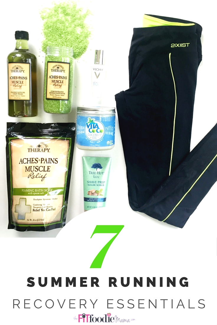 7 Summer Running Recovery Essentials. Soothe sore muscles with @vntherapy epsom salt, mineral soak and body wash. Repair wrinkled and sun damaged skin with Vichy serum. Refresh your legs with Tree Hut Shave Prep. Refuel with anti-inflammatory sweet potato recovery fries made with turmeric and cinnamon. Dress to impress while you run and recover with 2Xist apparel! Learn more and get exclusive discounts at TheFitFoodieMama.com