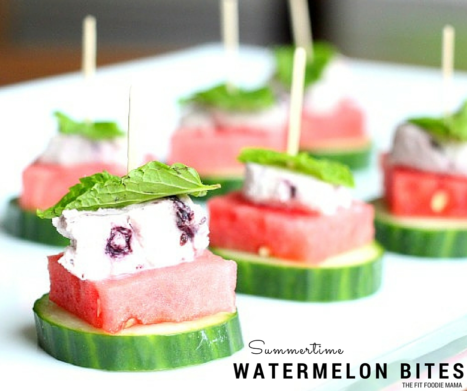 Watermelon, Cucumber and Blueberry Goat Cheese Bites