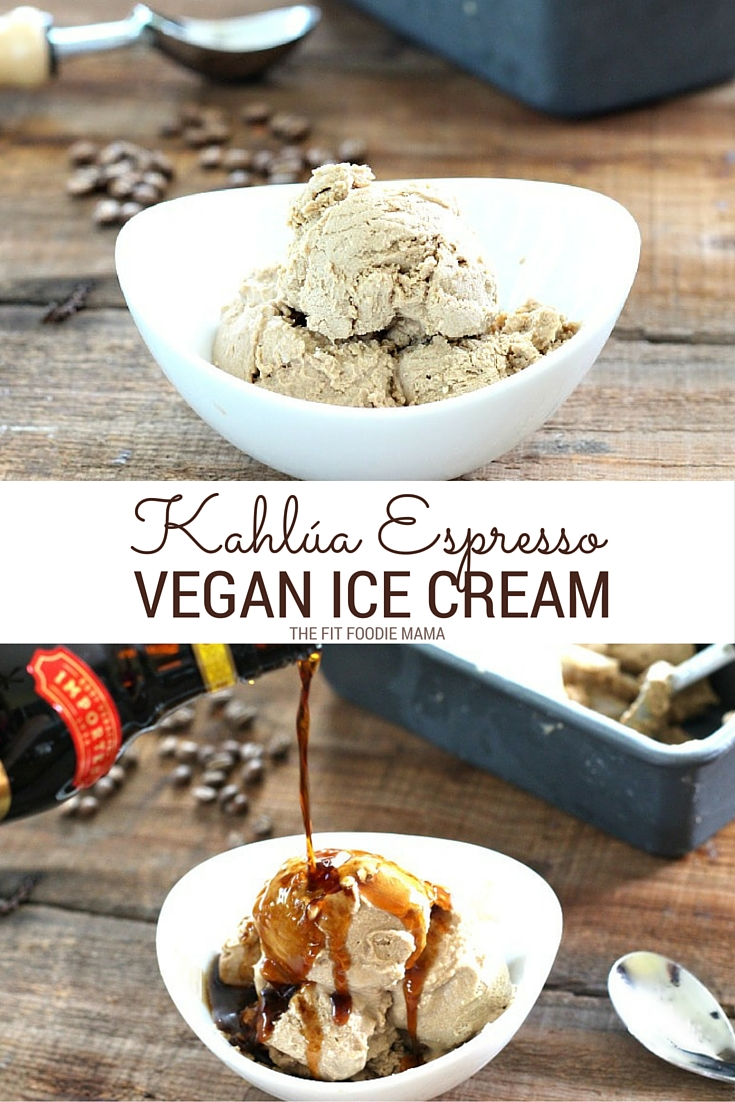 No Churn Kahlúa Espresso Coffee Ice Cream in just a few simple and easy steps. Not only is it vegan but it's also gluten free! Find the recipe details on TheFitFoodieMama.com