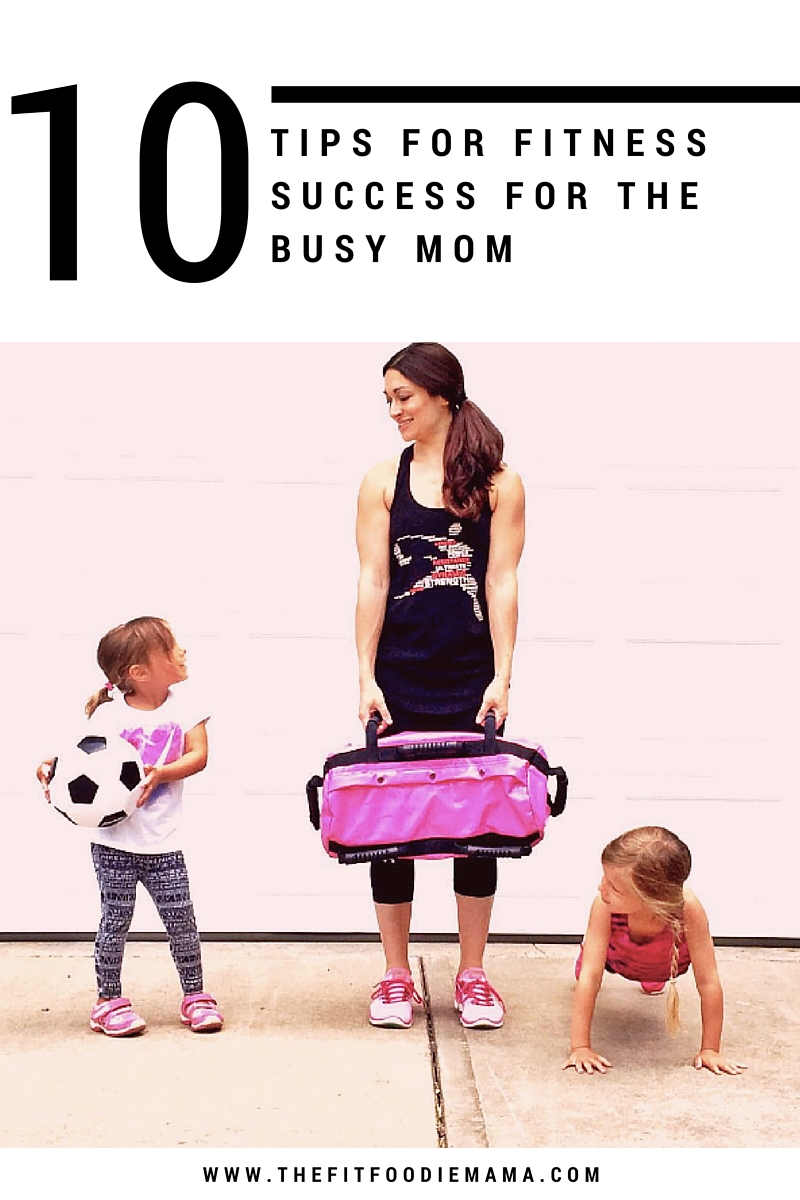 Top 10 Tips for Fitness Success for the Busy Mom via The Fit Foodie Mama. Grab the 16 DVRT @UltimateSandbag Workout Program with 15 recipe e-book bundle here: https://www.ultimatesandbagtraining.com/shop/workouts/dvrt-super-mom-fitness-program/