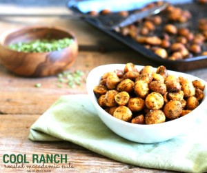 These Cool Ranch Roasted Macadamia nuts are ready in 20 minutes and the perfect healthy snack to munch on! Easy to make for parties and tailgating on game day!