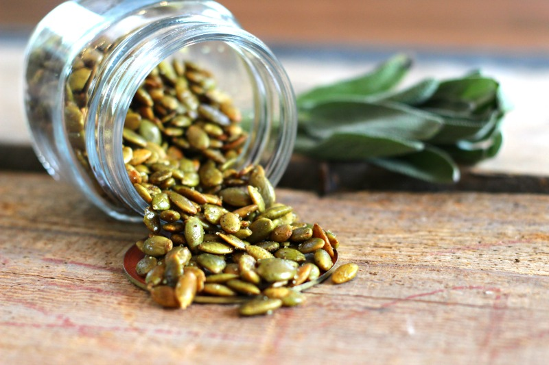 Easy Curry & Sage Roasted Peptia Seeds Recipe- the perfect fall snack!
