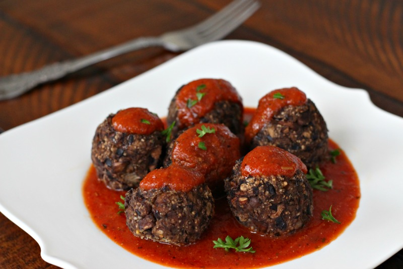 Black Bean and Mushroom Meatballs