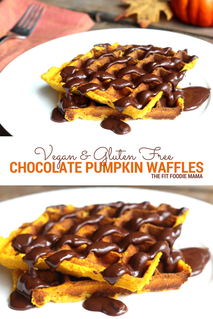 Perfect for fall, these easy to make gluten free and vegan chocolate pumpkin waffles are satisfying with just the right amount of sweet and spice!