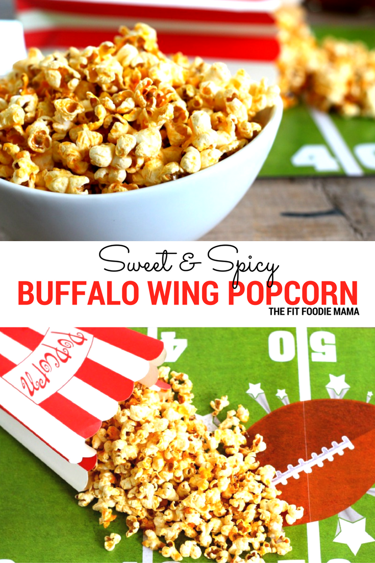 Satisfy your game day cravings with this crowd pleasing Sweet and Spicy Buffalo Wing Popcorn! Not only is it easy to make but it's healthy too!