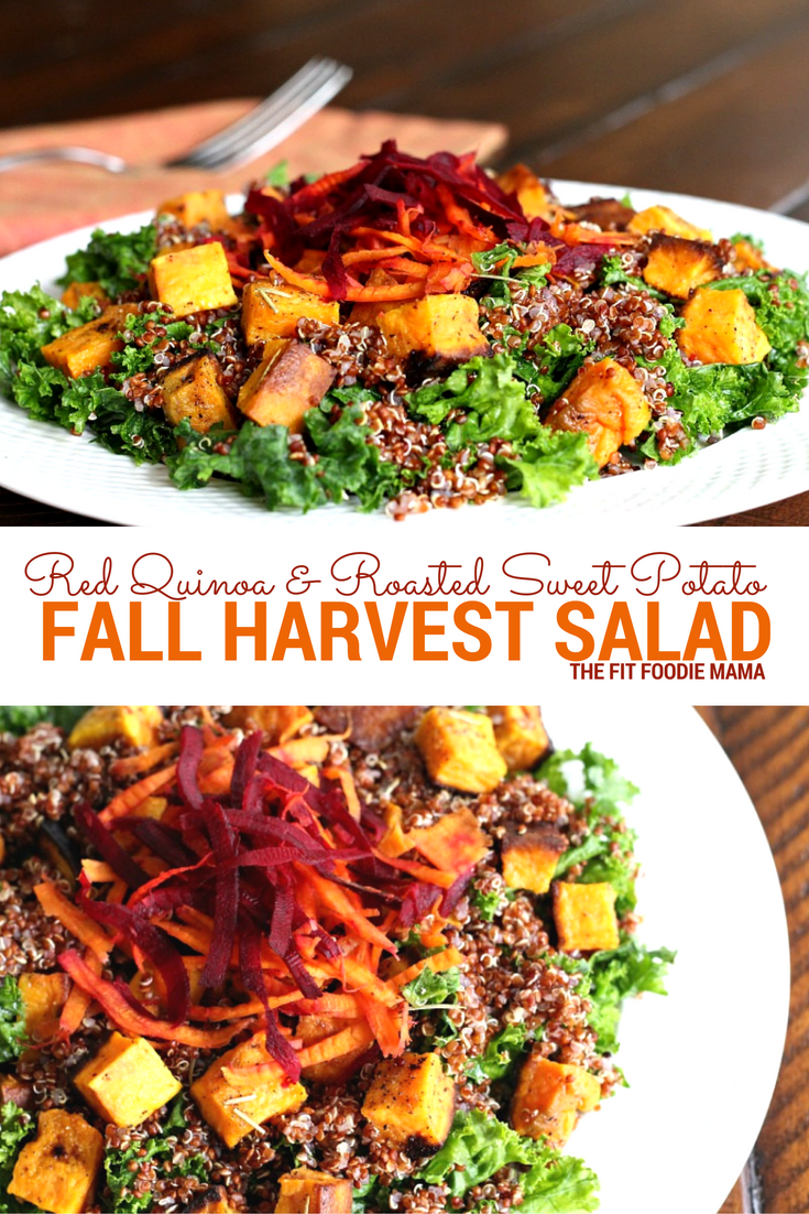 This Red Quinoa & Sweet Potato Harvest Salad is a gluten free and vegan fall flavor explosion on a plate!