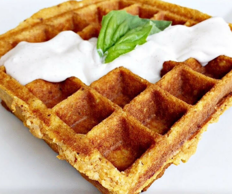 Sweet Potato Waffle with Cinnamon Coconut Sauce