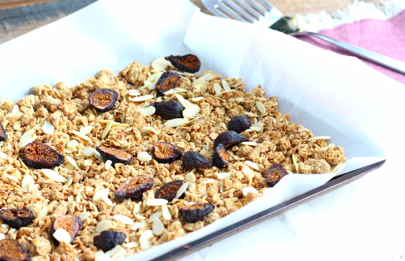 Refuel after a long run with the taste of the holidays. This Spiced Fig Gluten Free Granola recipe is boosted with plant protein and is also oil free and refined sugar free!