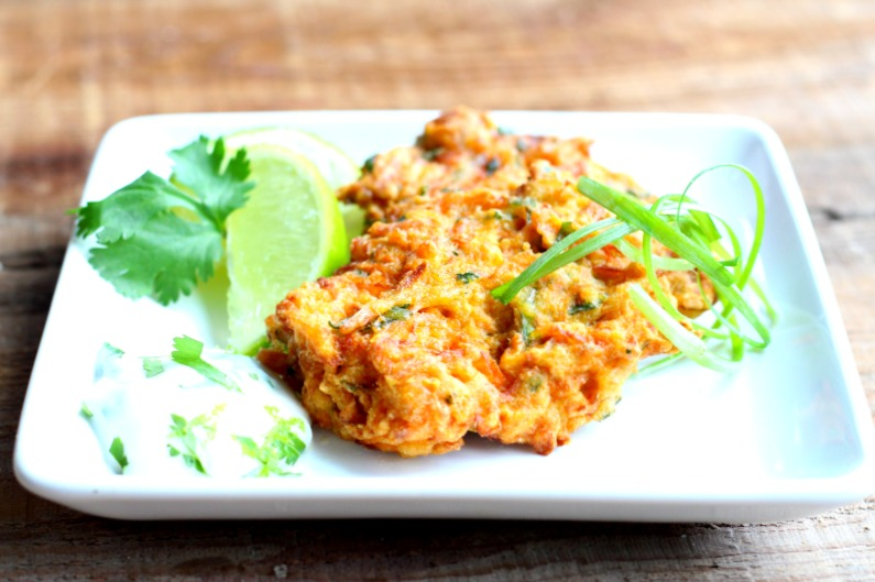 Spicy Buffalo Carrot Fritters {Gluten Free, Dairy Free}