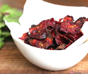 Oven Baked BBQ Beet Chips