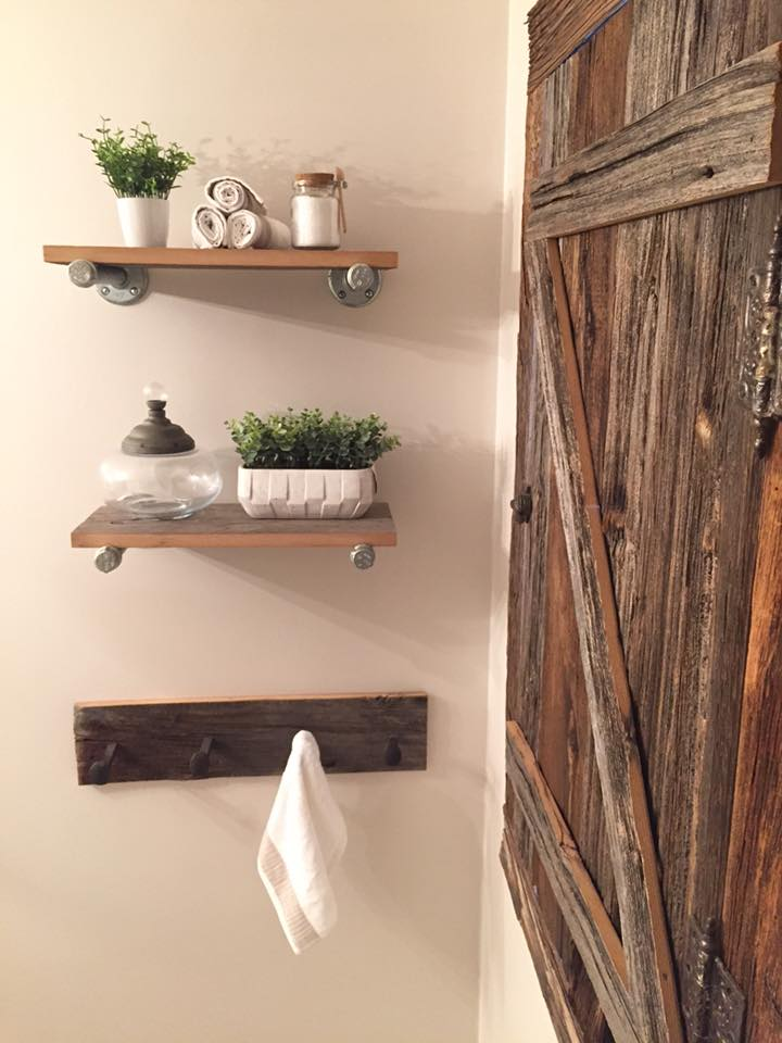 Barn Wood and Pipe DIY Shelves