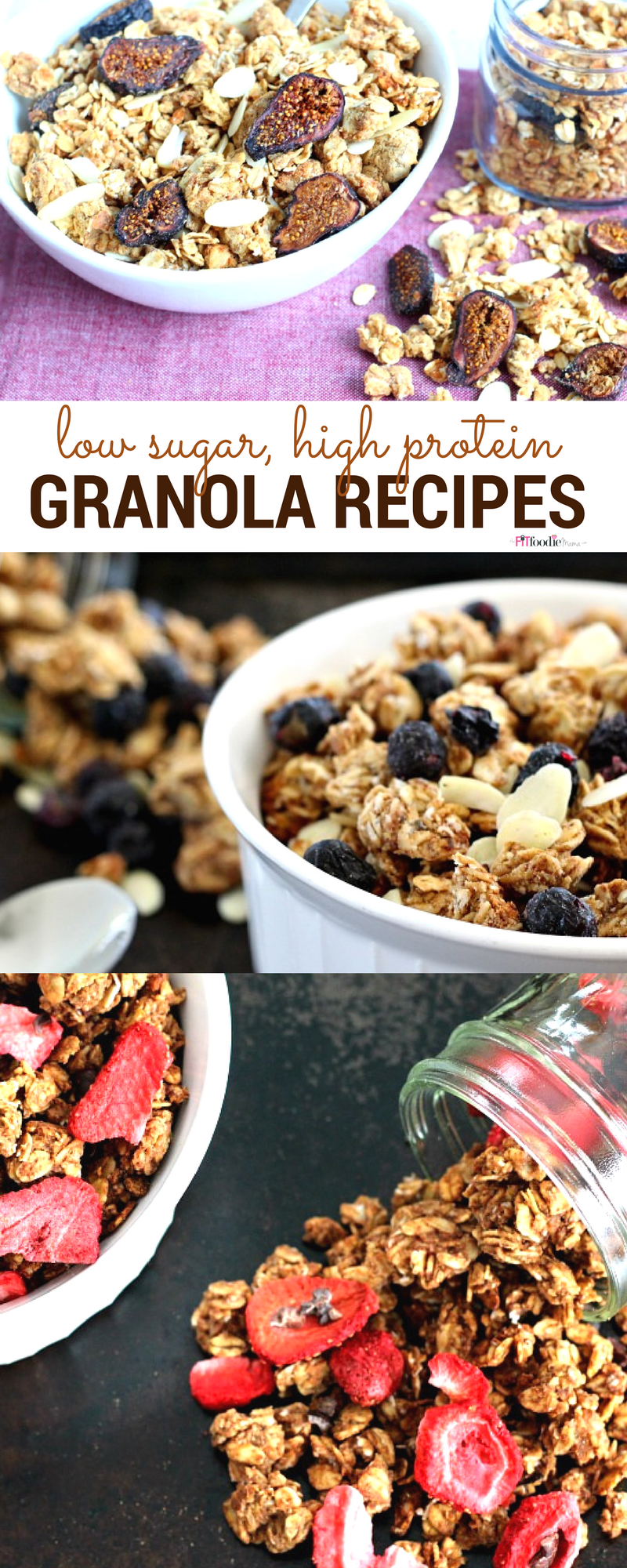 Low sugar, high protein gluten free granola recipes to fuel your morning.  Make them ahead and enjoy these healthy homemade granola recipes for breakfast.