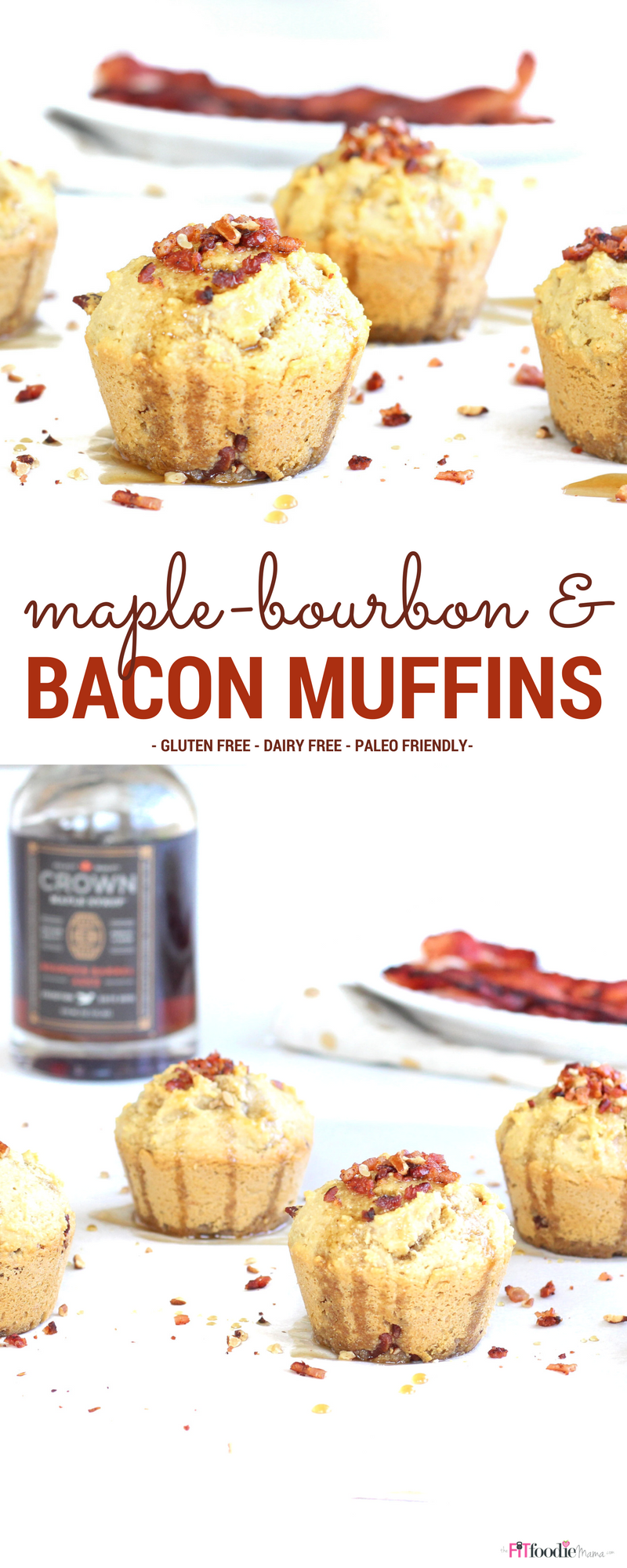 Paleo friendly Maple-Bourbon Bacon Breakfast Muffins recipe! They're gluten free, grain free, dairy free and the perfect healthy way to fuel your morning along with a tasty kick of maple-bourbon syrup!