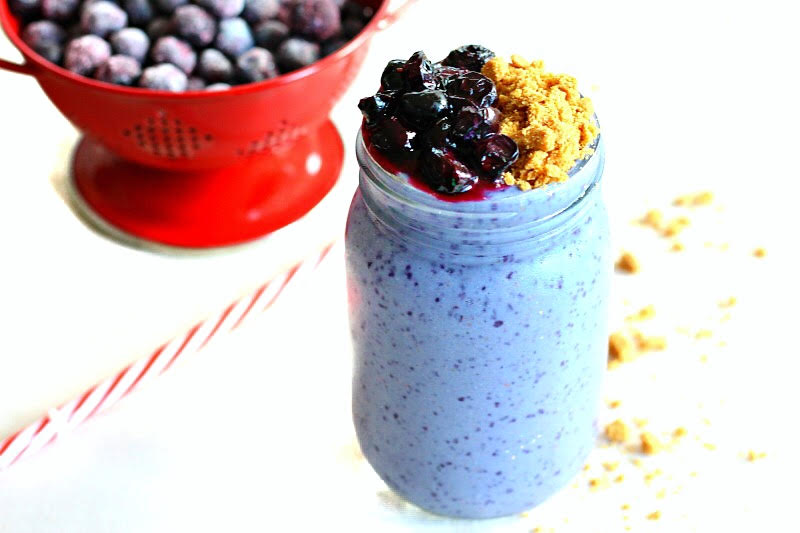 Blueberry Cobbler Breakfast Smoothie - packed with plant protein this healthy smoothie is vegan, dairy free, gluten free and allergy friendly!