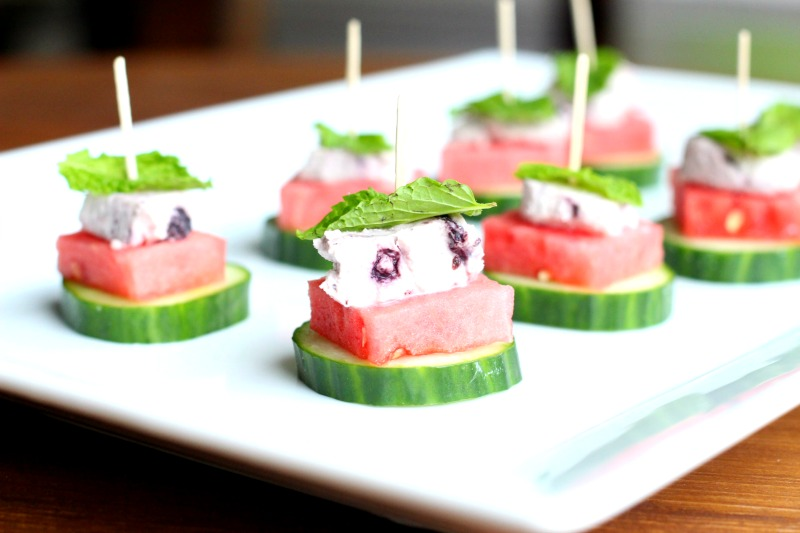 Watermelon, Cucumber & Blueberry Goat Cheese Bites