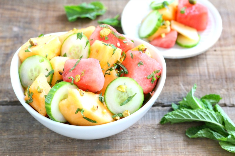 Crunchy, cool and refreshing Melon and Cucumber Fruit Salad sprinkled with pistachios and lightly flavored with fresh lime juice!