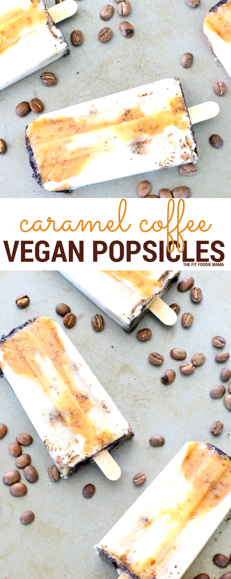 Caramel Coffee Vegan Popsicles made with Bard Valley Natural Delights Medjool Dates! Perfect way to recover, refuel and cool down after a hot summer run or workout! Find the recipe on TheFitFoodieMama.com