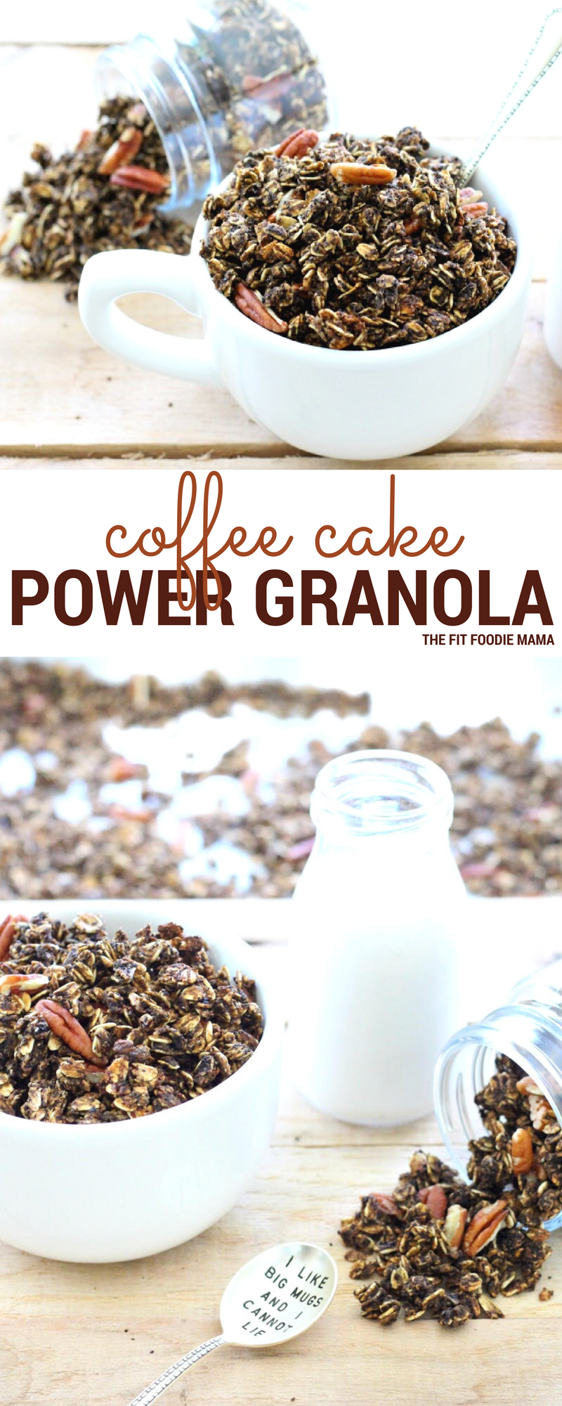 Coffee Cake Power Granola - This gluten free, dairy free and vegan breakfast is packed with plant protein, healthy ingredients like black strap molasses and real coffee. It's the perfect breakfast or pre-workout fuel to get you through the day! Find the recipe on TheFitFoodieMama.com
