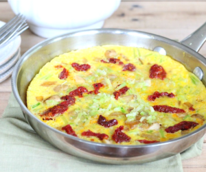 Riced Broccoli & Sun-Dried Tomato Frittata Recipe. It's an quick, easy and healthy post workout breakfast!