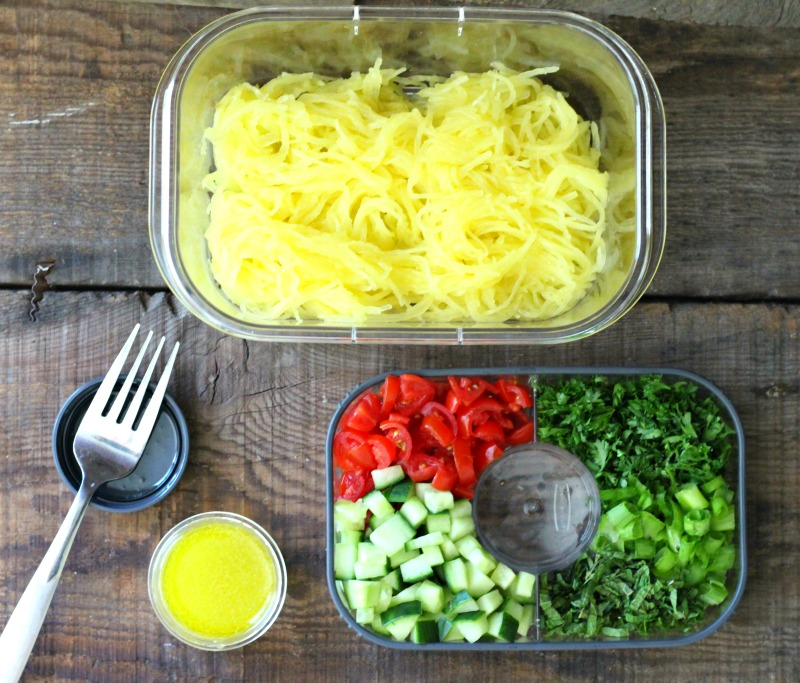 Spaghetti Squash Take Along Summer Salad. This lunch on the go is gluten free, dairy free and easy to make!