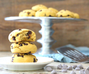 These Soft Baked Sweet Potato Chocolate Chip Protein Cookies are gluten free, dairy free and made with plant protein! Enjoy these healthy, low sugar treats for dessert or even breakfast!