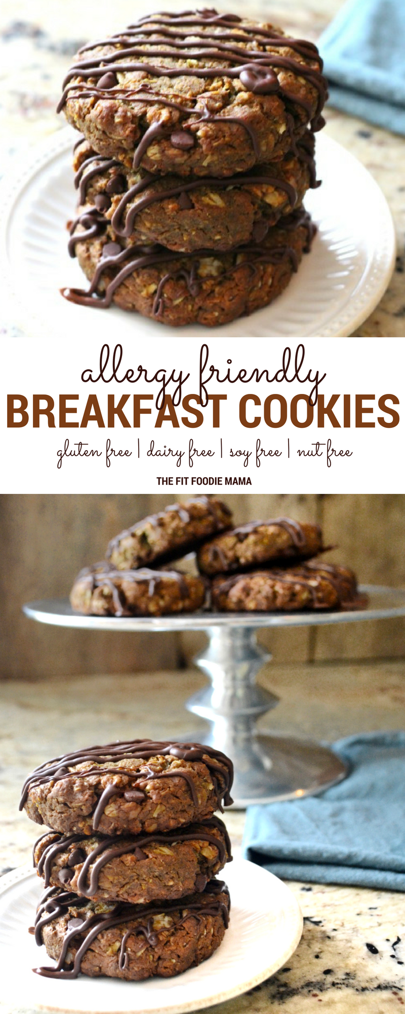 The Easiest Allergy Friendly Oatmeal Chocolate Chip Breakfast Cookies! They're gluten free, dairy free, soy free, nut free and vegan friendly as well as naturally sweetened. Perfect as a on the go breakfast before school or healthy way to fuel your next workout. Find the recipe on TheFitFoodieMama.com