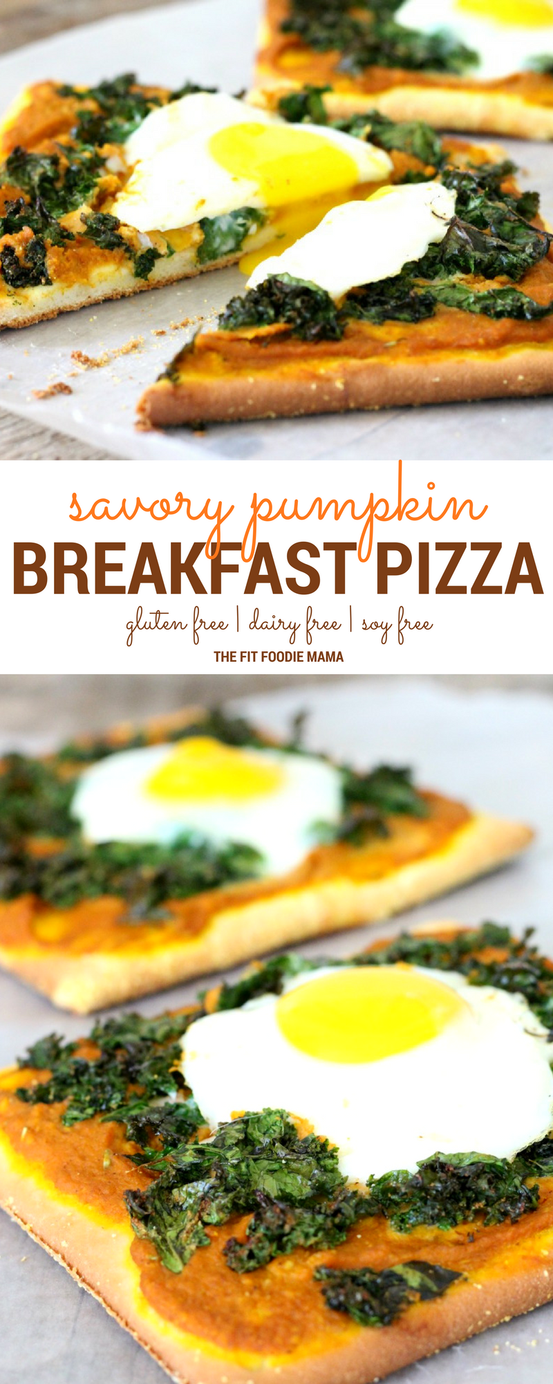 Quick and Easy Savory Pumpkin Breakfast Pizza! It's gluten free, dairy free, soy free and the perfect allergy friendly way to fuel your morning!