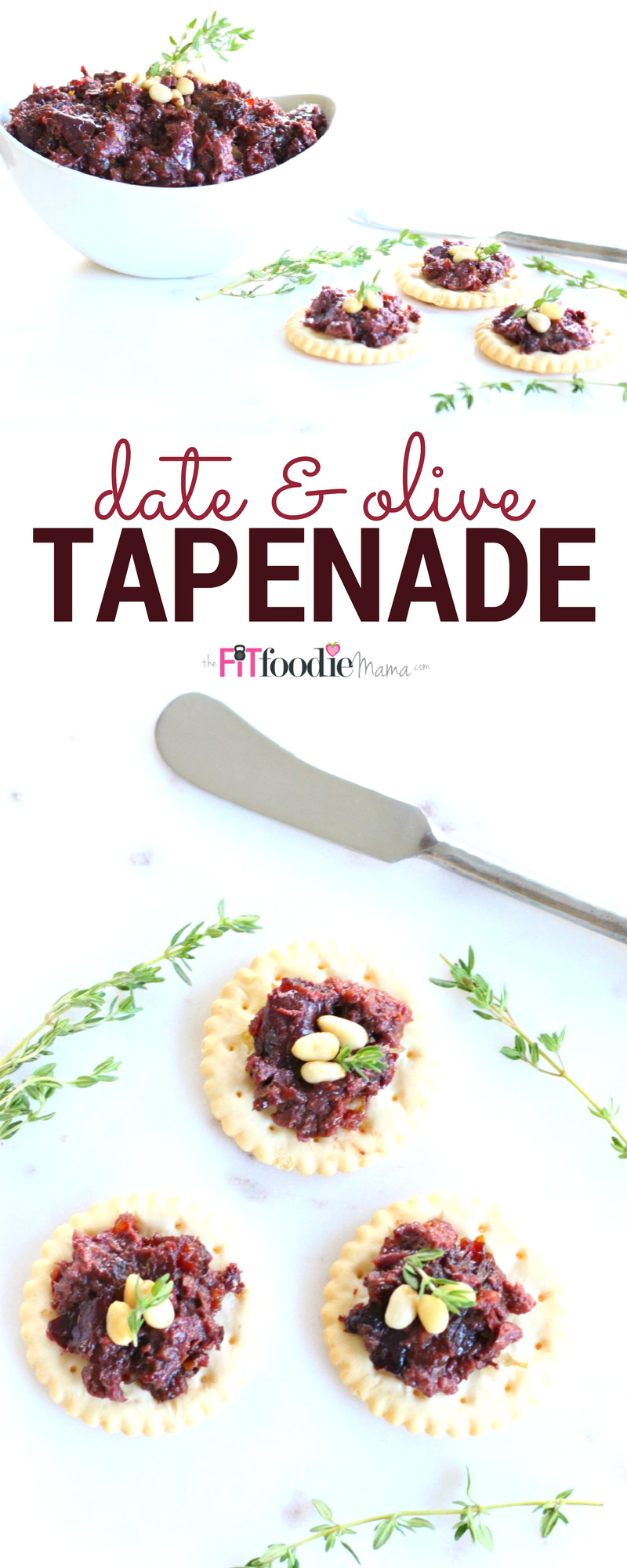 This 3 ingredient Medjool date and kalamata olive tapenade is the perfect holiday party appetizer.  It's gluten free, dairy free, vegan and allergy friendly and takes less than 5 minutes to make!
