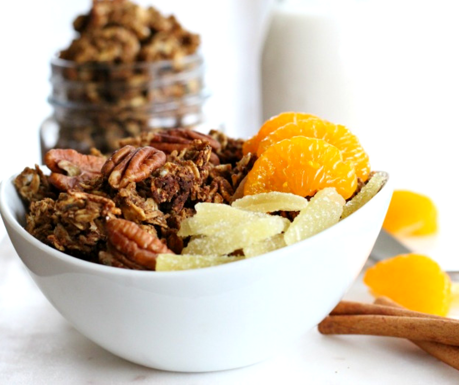 Healthy Low Sugar Ginger Snap Protein Granola