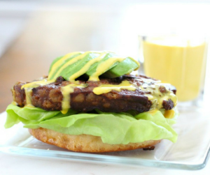Open-Face Veggie Burger with Paleo Turmeric Mayo [gluten free, dairy free, soy free]