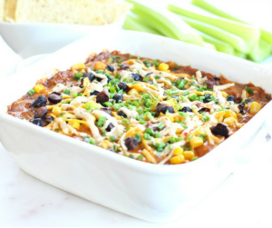 """BBQ """"Chicken' Dip! The perfect dairy free, gluten free and vegan alternative to a traditional cheesy, meaty dip! Made with Daiya vegan cheese, vegan mayo and jackfruit, this dip is sure to be a party pleaser that even carnivores will love!"""