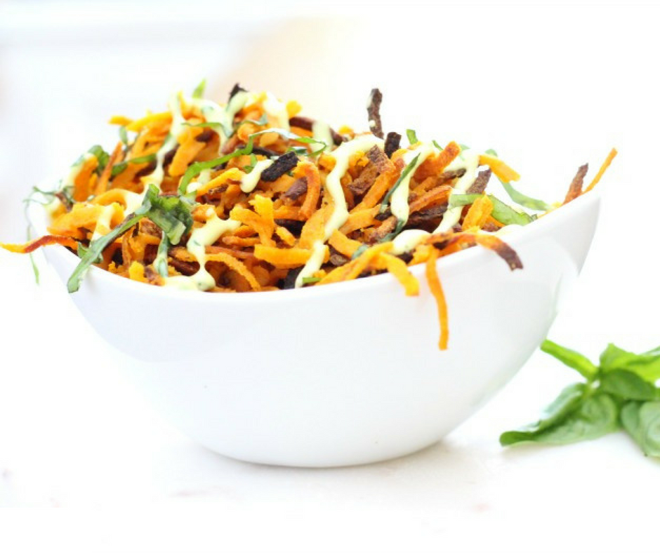 Curry Sweet Potato Straw Fries with Basil Mayo {Paleo}